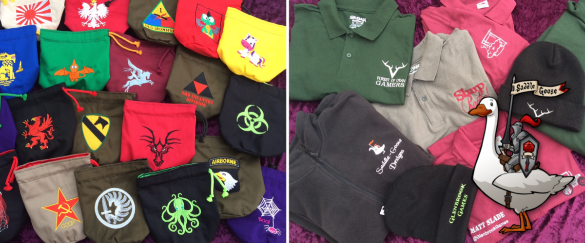 homepage embroidered dice bags and clothing